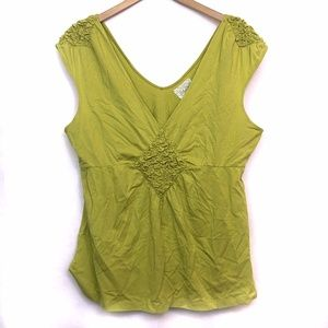 ANTHROPOLOGIE Chartreuse Lime Green Peplum Blouse
